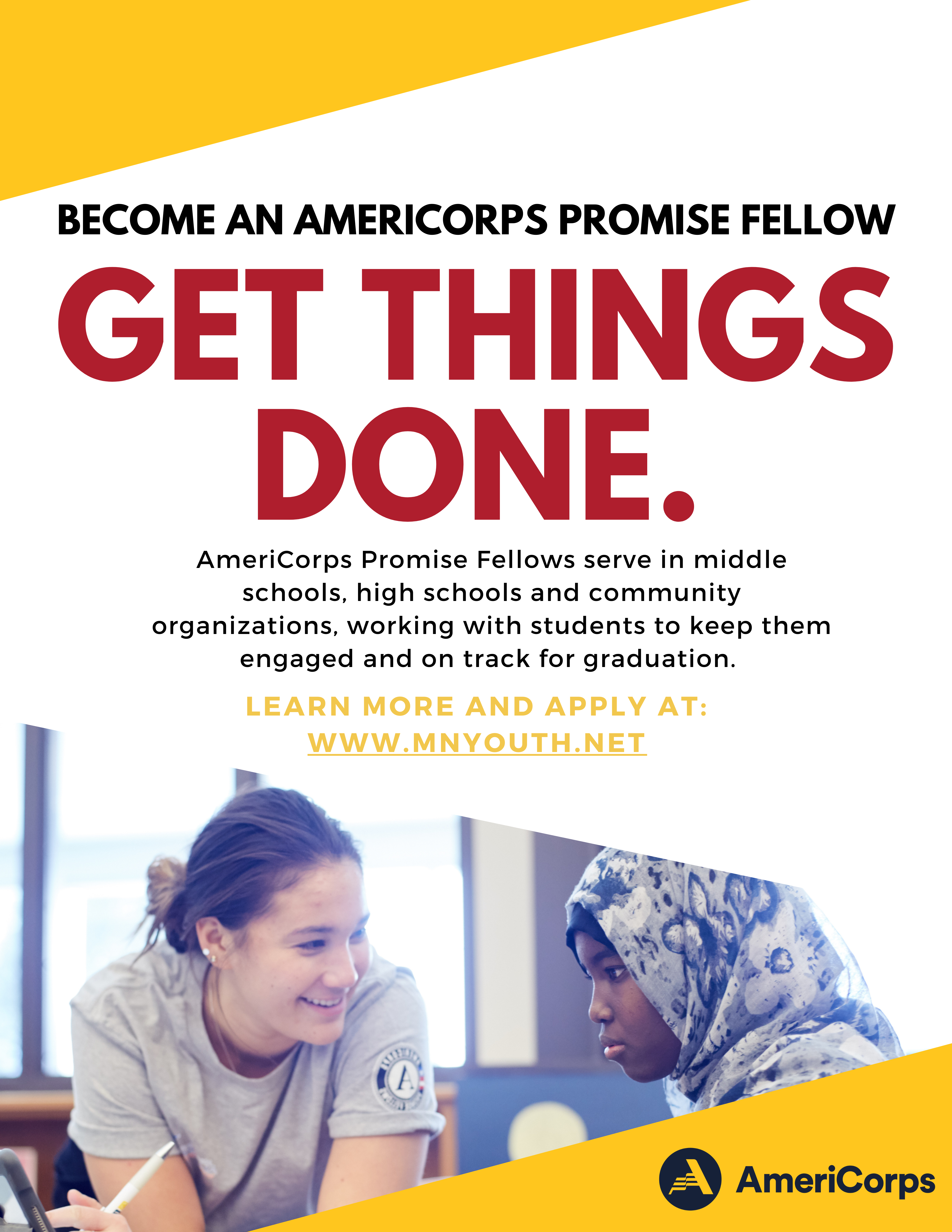 Promise Fellow and student tutoring poster