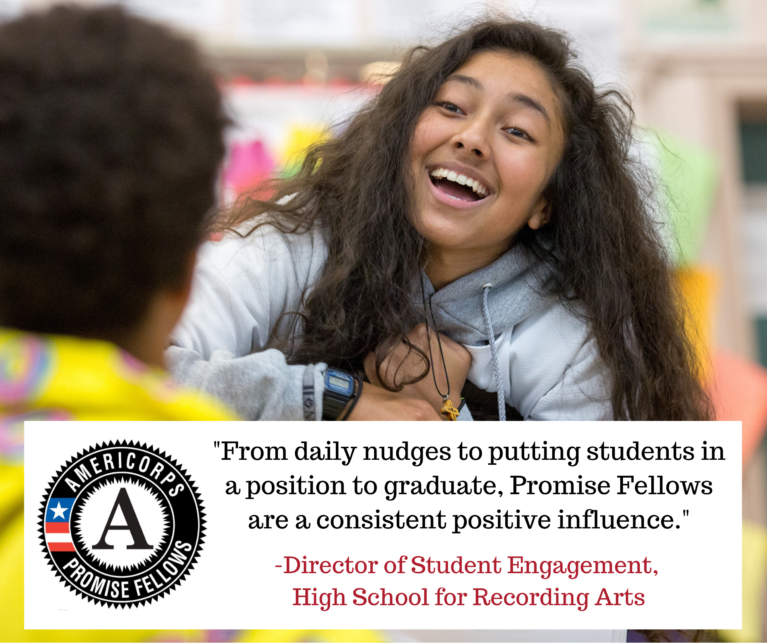 Image of student with text reading From daily nudges to putting students in a position to graduate, Promise Fellows are a consistent positive influence.