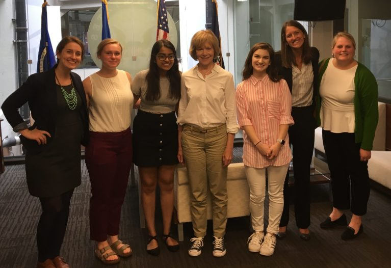Group of students with Tina Smith