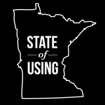 black logo of Minnesota with the words State of Using