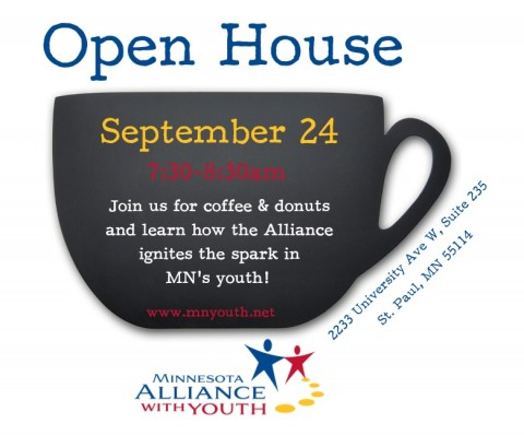 MN Alliance with Youth open house graphic