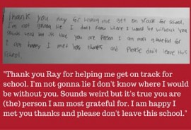 Thank you note with red text underneath